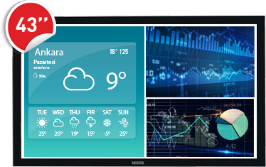"""43"""" Bilgilendirme Ekranı (700 Nit) Windows Tabanlı"""